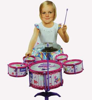Set Bateria Musical 5 Tambores Infantil Niñas Jd 388-4