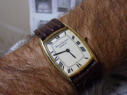 Relógio Jean Vernier Tank Máquina Eta 2512 1 Fol Ouro