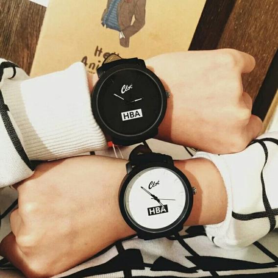 Relógio Luxo Couro Hba Preto/branco Unissex