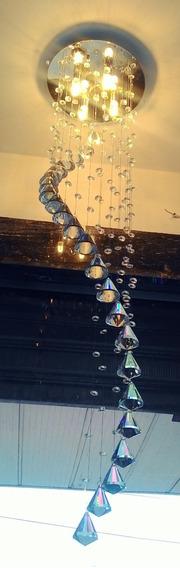 Lustre Plafon Cristal Espiral Diamantes