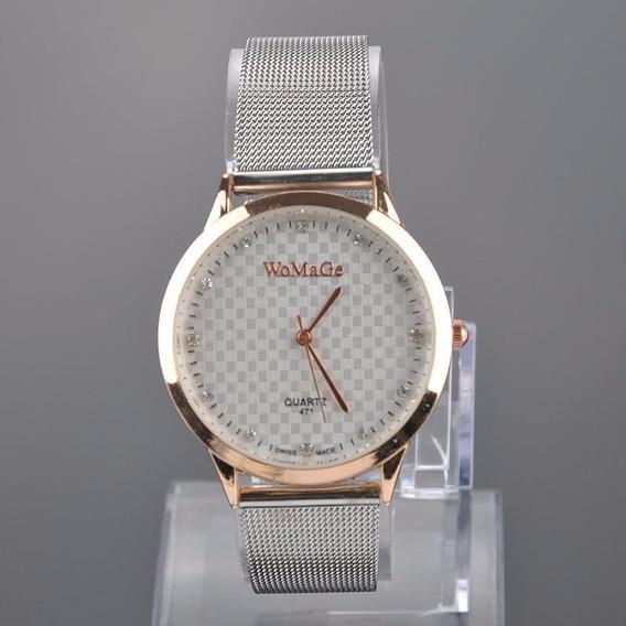 Relógio Analógico Luxo Social Masculino Feminino Womage