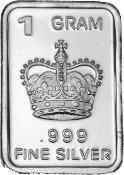 Barra De Prata Pura 999 De 1 Grama Coroa (802)
