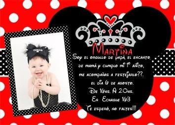 Tarjetas Invitacion Minnie Roja Souvenirs Para Cumpleaños