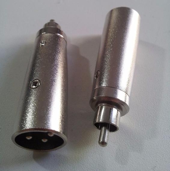 Adaptador Xlr Canon Macho Para Rca Macho Kit Com 02