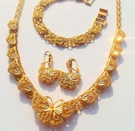 Conjunto De Joias Banhada A Ouro