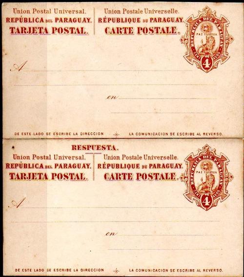 Paraguay 1882. 2 Enteros T. P.dobles De 4 Y 6 Cts S/circular