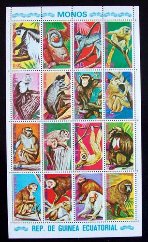 Guinea Ecuatorial, Fauna Monos Bloque 16 Sellos Mint L5686