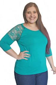 Blusa Pluz Size Com Detalhe De Renda,cor Na Descrição3006kle