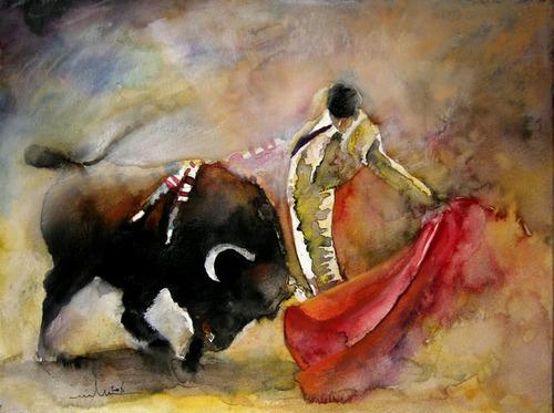 Imagen 1 de 6 de Cuadros Al Oleo Toros.pinturas Para Sala Hogar