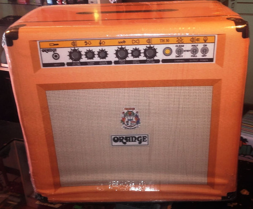 Pouf Simil Amplificador Orange Tejido