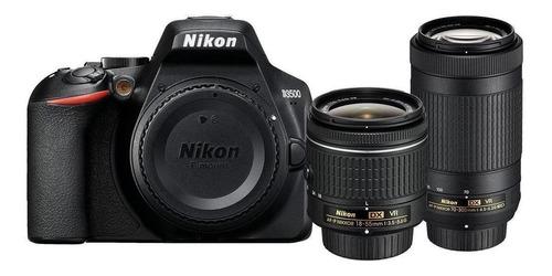 Imagen 1 de 4 de Nikon Kit D3500 + lente 18-55mm VR + lente 70-300mm G ED DSLR color  negro