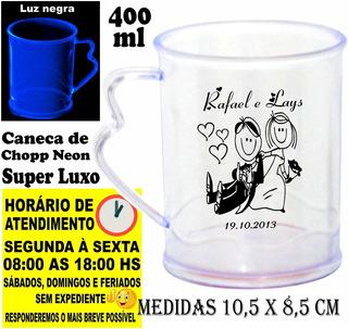 Caneca De Chopp 400ml Personalizada Neon Luxo 100 Pçs 119,90