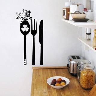 Vinilo Decorativo Para Cocina, Cubiertos, Arte Para Pared