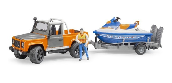 Bruder 2599 - Pick-up Land Rover, Carreta, Jet-ski E Piloto