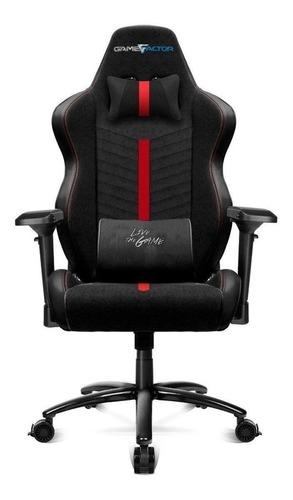 Imagen 1 de 2 de Silla de escritorio Game Factor CGC601 gamer ergonómica  negra y roja con tapizado de tela