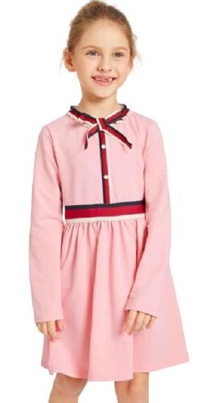 Vestido Rosa Estilo Gucci Niña Importacion En Liquidacion!
