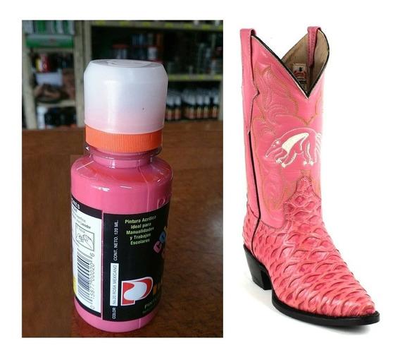 1 Pintura P/zapatos Piel Vinyl Plastico 120ml Rosa Mexicano
