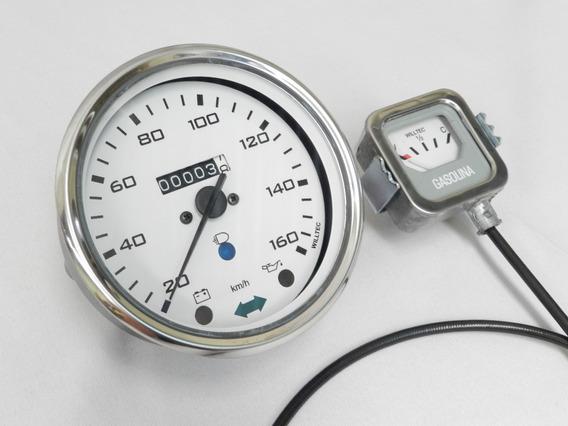 Velocimetro Fusca + Marcador Comb Fundo Branco - W85225c Kit