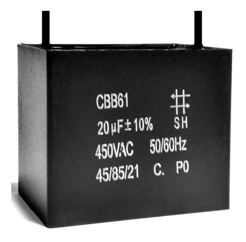 Imagem 1 de 1 de 2 Unids Capacitor De Partida 20uf X 450vac Fio Cbb61