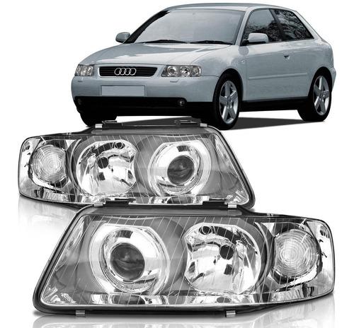 Par Farol Audi A3 01 2002 2003 2004 2005 2006 Duplo Cromado