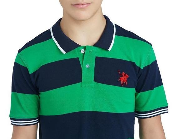 Playera York Team Polo Club Verde Estampada Juvenil