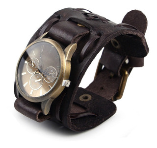Relógio Bracelete Masculina Pulseira Larga Em Couro Marrom
