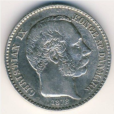 Dinamarca Moneda De Plata De 10 Cents 1878 Envio Gratis !!