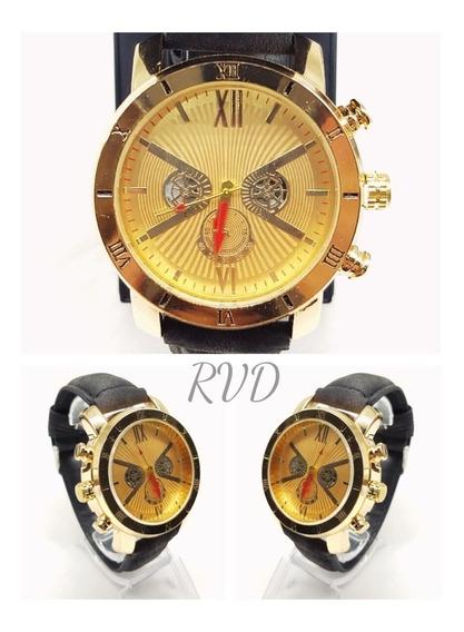 Kit C/ 05 Relógios Masculinos De Couro + Caixa + Bateria Ext