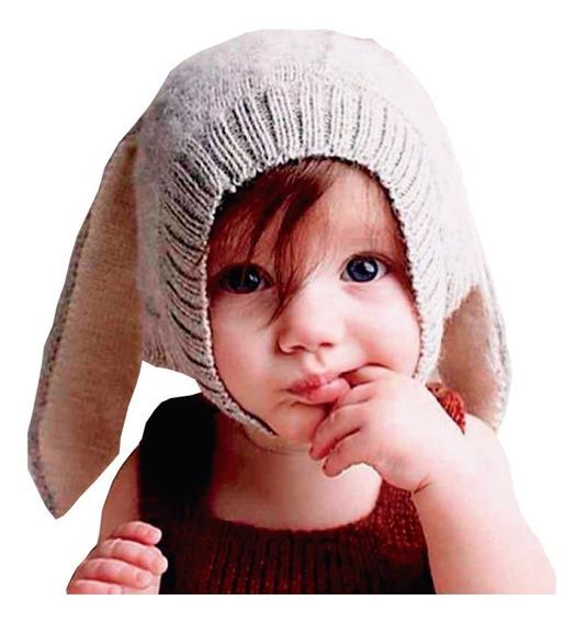 Gorro Termico Tejido Con Orejas Gris Para Bebe Niños Niñas