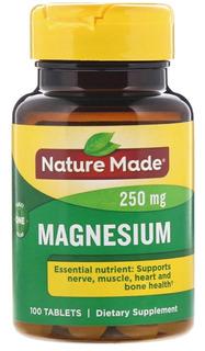 Nature Made, Magnésio 250mg, 100 Comprimidos Importado E U A