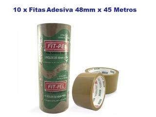 10 Fitas Adesivas Pvc 45m X 48mm P/ Caixas De Papelão Marrom