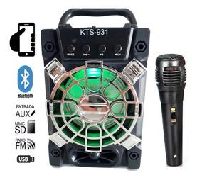 Caixa Som Amplificada Bluetooth Karaokê Mp3 Rádio Fm Usb P10