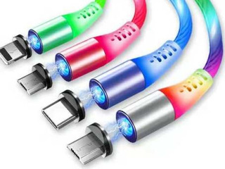Cable Magnetico Luminoso 3 En 1 Micro Usb, Ios Y Tipo C