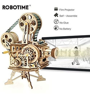 Robotime Proyector Vintage 3d De Madera Armable Diy Regalo