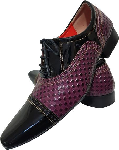 Sapato Masculino Em Couro Preto Verniz Com Violeta Ref: 702
