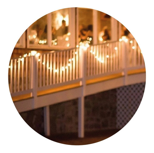 Guirnalda 10mts Luces Led Calida Exterior Luz A Pilas