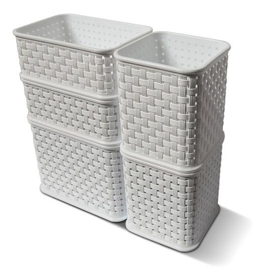 Canastos Organizador Plastico Rattan Cesto Colombraro Pack 5