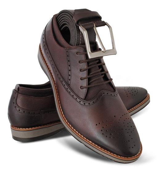 Sapato Social Masculino Oxford Modelo Inglês Couro+cinto