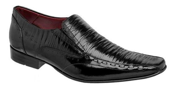 Sapato Masculino Couro Plissado Preto 760420 - Frete Grátis