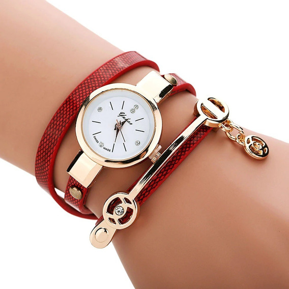 Relógio Bracelete Feminino Strass Dourado Pulseira De Couro