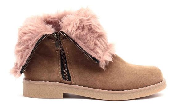 Zapatos Botas Mujer Botitas Borcego Gamuza Cierre Peluche