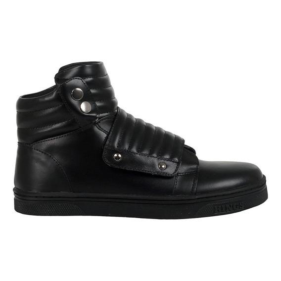 Tênis Sneakers Bota Couro Preto Kings Street Lifestyle Origi