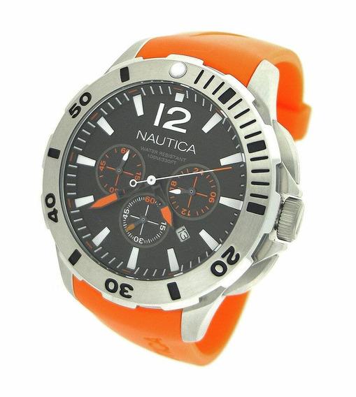 Relógio Nautica Silicone Laranja Chronograph N16567g