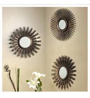 Set 3 Figuras Soles 25 X 25 Cm Dorado Espejos Decorativo