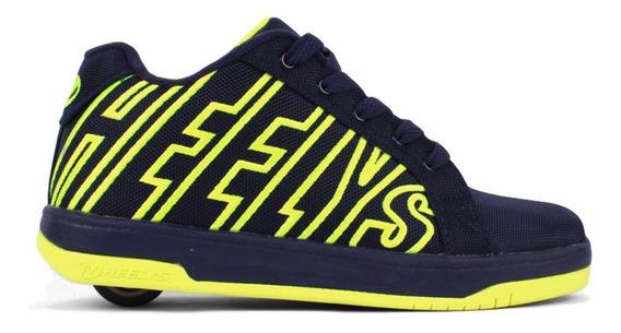 Tenis Patín Heelys Para Niño Azul Con Amarillo De Una Rueda