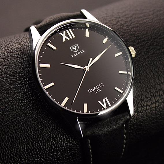 Relógio Barato Analógico Feminino Masculino Yazole 318 Preto