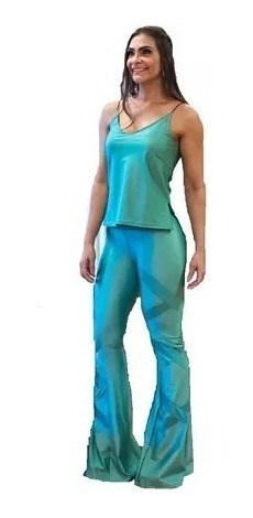 Calça Super Flare Legging Disco Hot Pants Em Cirre.