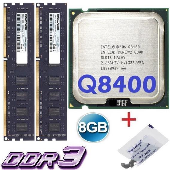 Kit Cpu Core 2 Quad Q8400 2,66ghz + 8gb Ddr3 1333mhz (2x4gb)