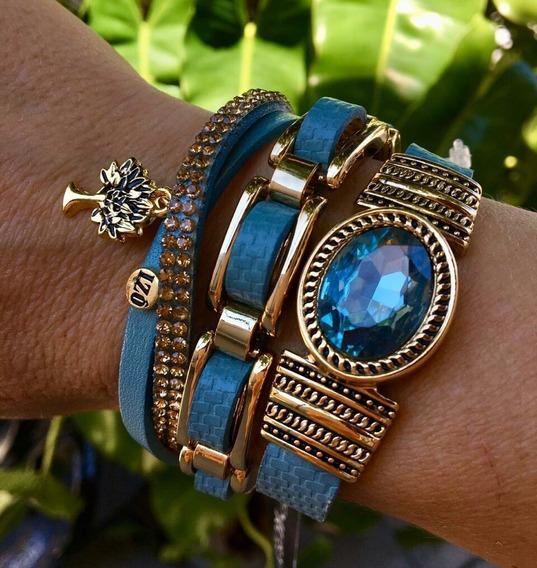 Conjunto De 3 Pulseira Couro Azul Com Pedra Brilhante S Jóia