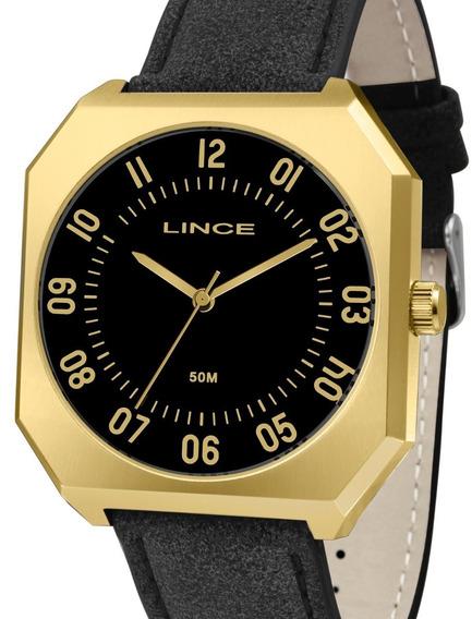 Relogio Lince Mqc4499s P2px Pulseira Couro Caixa Dourado.